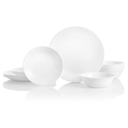 Corelle Service for 6, Chip Resistant, Winter Frost White Dinnerware Set, 18-Piece, (White French Corelle Dinnerware)