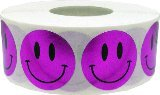 Metallic Purple Smiley Face Circle Dot Stickers, 3/4 Inch Round, 500 Labels on a Roll (Purple Smiley Face)