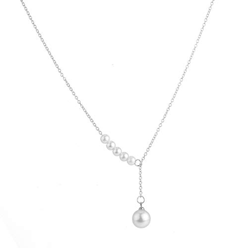 Sinfu Necklace-Trendy Sweet OL Elongated Pearl Pendant Simple Thin Chain Daily Clavicle Chain,Ideal Gift for Women (Silver)