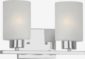 Bath Bracket Forte Lighting - Forte 5086-02-05 Two Light Bath Bracket, Chrome Finish Frosted Seeded Glass
