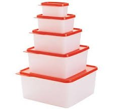 Tupperware Keep Tabs 5 Pc Stacking Super Set . Clear & Red Seals - Super Seal Foodsaver Set
