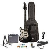 Sawtooth ES Series Left-Handed Electric Guitar with Sawtooth 10 Watt Amp & ChromaCast Accessories, Black w/ Chrome Pickguard