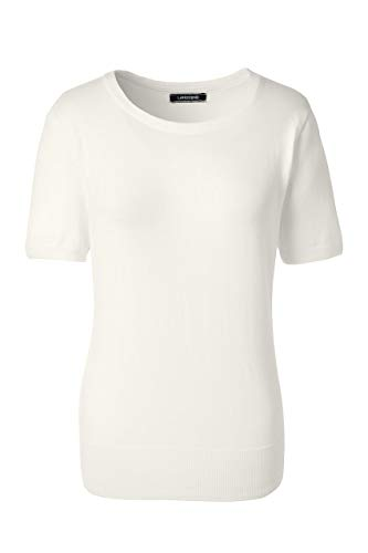 (Lands' End Women's Tall Short Sleeve Supima Sweater, L, Ivory)