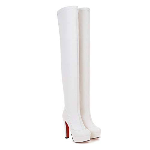 (JOYBI Women Platform Chunky High Heel Over The Knee Boots Zipper Winter Fashion Round Toe Thigh Boots)