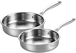 Pan Omelet 10 Covered (Tri-Ply Stainless Steel Frying Pan Cookware Set Physical Nonstick Fry Pan Professional Kitchen Restaurant French Skillet Omelette Dishwasher Safe, 8-Inch and 10-Inch, Silver [FDA Approved] Dilicis)