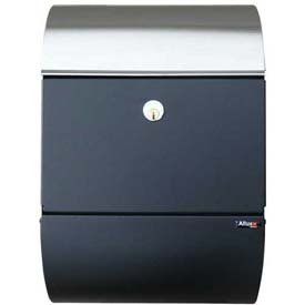 (Allux Series Wall Mailbox Allux 3000 in Black w/Steel)