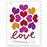 USPS Hearts Blossom Love Forever Stamps - Wedding, Celebration, Graduation (2 Sheets, 40 Stamps) 2019 (Postal Stamps United)