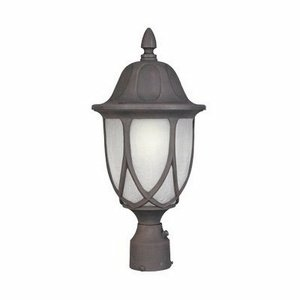 Designers Fountain 2866-AG Capella Collection 1-Light Exterior Post Lantern, Autumn Gold Finish with Satin Crackled Glass