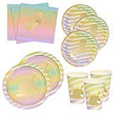 Gift Boutique Unicorn Birthday Plates Napkins and Cups with Gold Foil for 24 Guests 24 Dinner Plates 24 Dessert Plates 50 Luncheon Napkins and 24 Cups Unicorn Party Supplies Metallic Tableware Decor ()