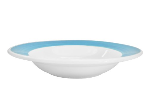 (CAC China R-115-BLUE Rainbow Rolled Edge 11-3/8-Inch Blue Stoneware Pasta Bowl, 24-Ounce, Box of 12)