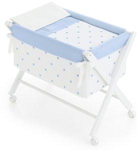 Kinder Romantic–minicuna, 68x 90x 71cm, Farbe: weiß/blau