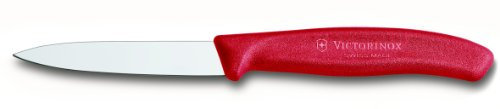 Victorinox 6.7601US1 3.25 Inch Swiss Classic Paring Knife with Straight Edge, Spear Point, Red, 3.25