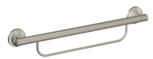 Moen LR2350DBN Bathroom Safety 24-Inch Grab Bar with Towel Bar, Brushed Nickel by Moen