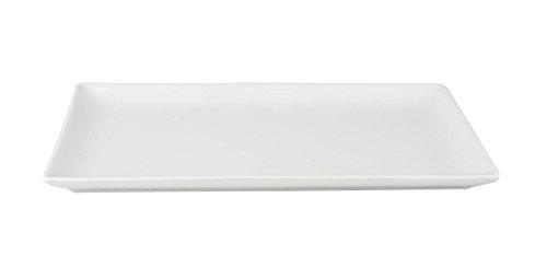 Teller flach, Sushiteller, Porzellan, weiß, rechteckig, Höhe: 1.5 cm