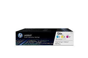 2PQ1307 - HP 126A 3-pack Cyan/Magenta/Yellow Original LaserJet Toner Cartridges