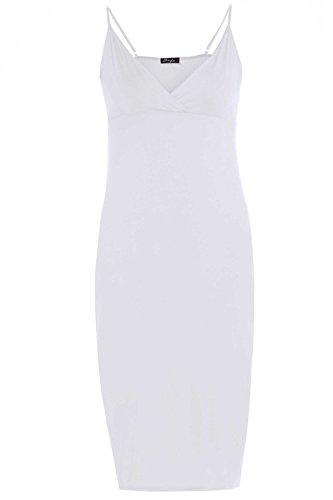 New Womens Strappy Long Midi Dress Cami Bodycon Midi Dress 8-22 ( White 1, 1X )
