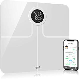Rollifit Premium Smart Scale - Body Fat Scale with Fitness APP & Body Composition Monitor with Extra Large Display - Works with iPhone 8/iPhone X(10) (White)
