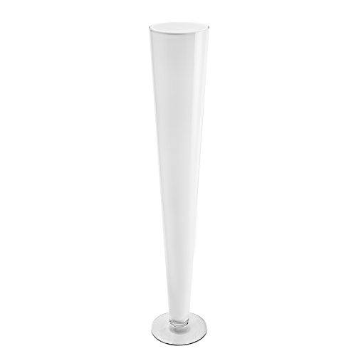 CYS EXCEL Glass Trumpet Vase, Tapered Design Center Piece, Floral Display for Events & Weddings (White-4.5