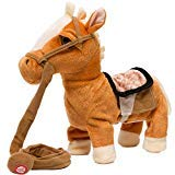 Plush Horse Pony - iBonny Stuffed Animal Plush Pony Toy My First Pony Walk Along Toy Realistic Walking Actions with Horse Sounds and Music Tan