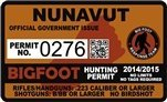 "Nunavut Canada Bigfoot Hunting Permit 2.4"" x 4"" Decal Sticker"