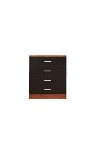 YAKOE Design moderno Camera da letto mobili nero/noce Cassettiera a 4cassetti, finitura opaca, legno, noce/Nero Sheng Yang 35007
