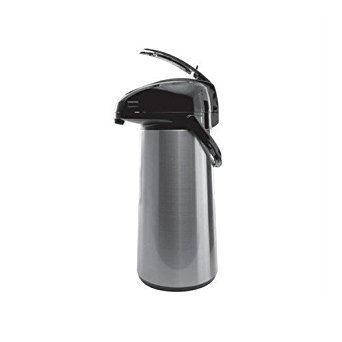 Service Ideas AELS308 Glass Lined Vacuum Insulated Airpot with Lever Pump, 3.0 Liter (101.4 oz.), Brushed Stainless/Black Accents