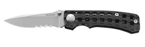 CRKT Ruger Go-N-Heavy Compact EDC Folding Knife with Sheath: Heavy Duty Outdoor, Everyday Carry, Serrated Edge Blade, Veff Serrations, Thumb Stud, Locking Liner, Aluminum Handle, Nylon Sheath R1804