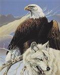 EAGLE & WOLF Queen Mink Blanket