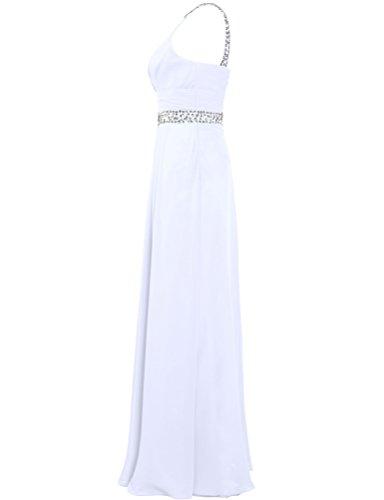 Dress Evening Long White Chiffon Women Bead s Sleeveless ANTS Prom Gown UxTqY8Yw