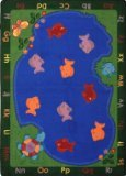 Joy Carpets Kid Essentials Early Childhood Oval Fishin' Fun Rug, Multicolored, 5'4'' x 7'8''