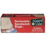 Natural Value Reclosable Sandwich Bags 50 count - 3PC