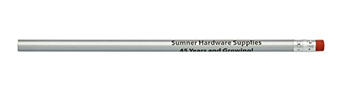 Pencil Guy Promotional Personalized Imprinted Round Pencils Silver 144 to a Box]()
