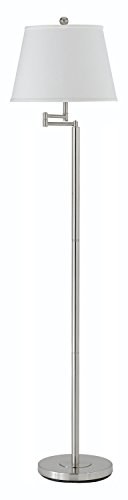 Brushed Steel Andros 1 Light Pedestal Base Swing Arm Floor Lamp