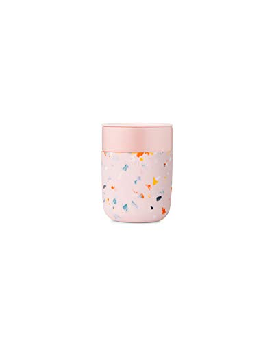 W&P Porter Ceramic Mug w/ Protective Silicone Sleeve, Terrazzo Blush 12 Ounces | On-the-Go | Reusable Cup for Coffee or Tea | Portable | Dishwasher Safe