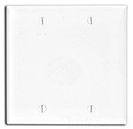Leviton 80725-E 2-Gang No Device Blank Wallplate, Box Mounted, Black, 25-Pack