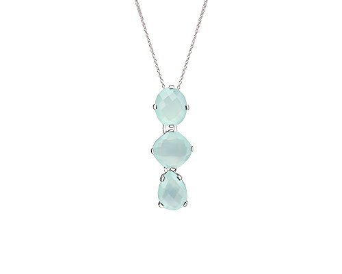 Gold & Honey 1995 Sterling Silver Multi Aqua Chalcedony Stone Drop Pendant Necklace with Chain