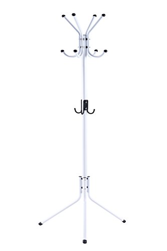 WILSHINE Coat Rack Standing Coat Tree White Metal Modern with 12 -