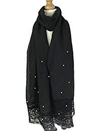 New Ladies Soft Pearl Beaded Large Scarf (Black)