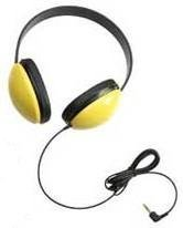 Circumaural Stereo Headset - Califone 2800YL-AV Listening First Stereo Headset with Dual 3.5mm Plugs, Yellow, Adjustable Headband for Personalized Fit, Noise-reducing Circumaural Earcups, Noise Canceling Mic