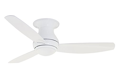 (Emerson Ceiling Fans CF144WW, Curva Sky, Modern Low Profile Hugger, Indoor Outdoor Ceiling Fan With Light And Remote, 44-Inch Blades, Appliance White Finish)