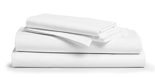 800 Thread Count 100% Egyptain Cotton Sheet Queen White Sheets Set, 4-Piece Long-Staple Combed Cotton Best Sheets for Bed, Breathable, Soft & Silky Sateen Weave Fits Mattress Upto 18'' Deep Pocket