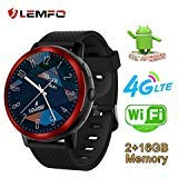 LEMFO LEM8 Smart Watch Phone 4G LTE - Android 7.1.1 MT6739 2GB+16GB 2MP Bluetooth GPS WiFi Heart Rate Monitor Smartwatch for Men Women (Red) ()