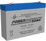 Powersonic PS-670F1 - 6 Volt/7 Amp Hour Sealed Lead Acid Battery with 0.187 Fast-on Connector