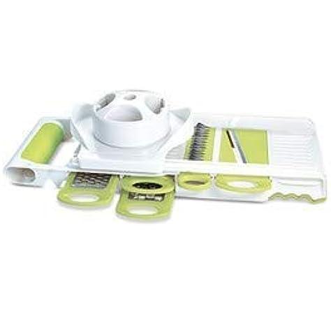 Amazon Com Crofton Mandoline Slicer With 5 Interchangeable Blades Stainless White Kitchen Dining