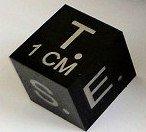 1cm Black Polished Scale Cube