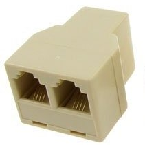 Telephone Splitter Adapter 1 Female to 2 Female RJ-11 Ivory. The SplitterF. Use with Any Standard RJ-11 Phone Cord.
