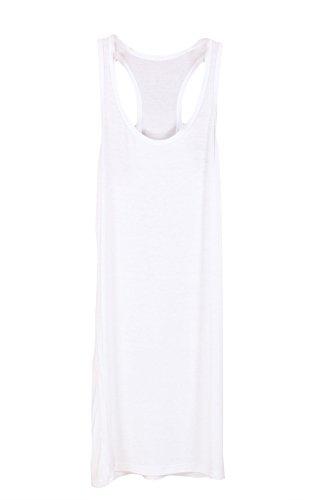 Shawhuaa Womens Basic Sleeveless Racerback Tank Dress Long T-shirt