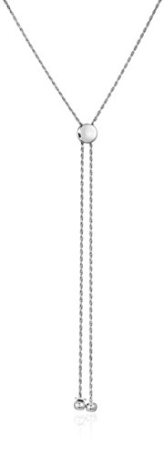 Sterling Silver Adjustable 1.2mm Rope with Slider Stopper Chain Necklace, (Adjustable Sliders)
