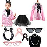 1950s Child Pink Ladies Jacket Costume Outfit Set (Pink, XL)]()