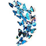 JYPHM 24PCS 3D Butterfly Wall Stickers Removable Refrigerator Magnets Mural Stickers Butterfly Wall Decal for Kids Home Room Nursery Decoration Wall Art Blue